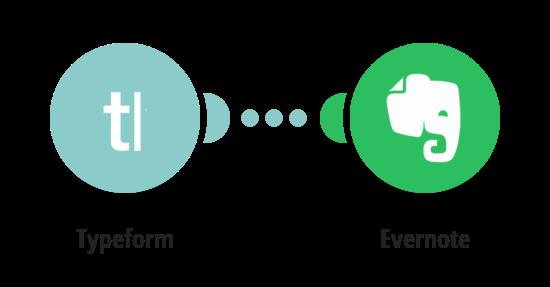Vytvoření poznámky v Evernote z nové odpovědi na sledovanou otázku v Typeform
