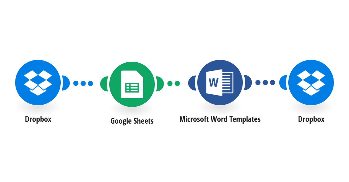 Insert values from a Google Sheets spreadsheet into new MS Word files on Dropbox using Microsoft Word Template filler