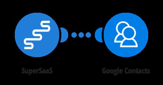 Vytvoření kontaktu v Google Kontaktech z nového uživatele v SuperSaas