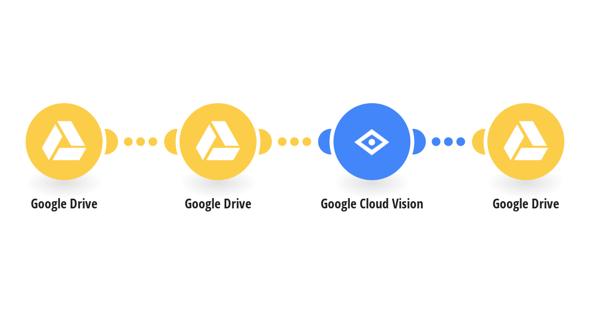 Detect text within new Google Drive images using Google Cloud Vision (OCR) and save it to Google Drive as a new file