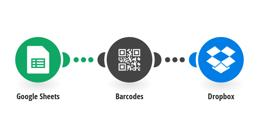 Generate barcode from data in Google Sheets rows and save it to Dropbox